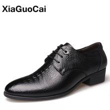 купить Luxury Genuine Leather Men Oxford Shoes High Quality British Business Crocodile Shoes Men's Dress Wedding Shoes X197 онлайн