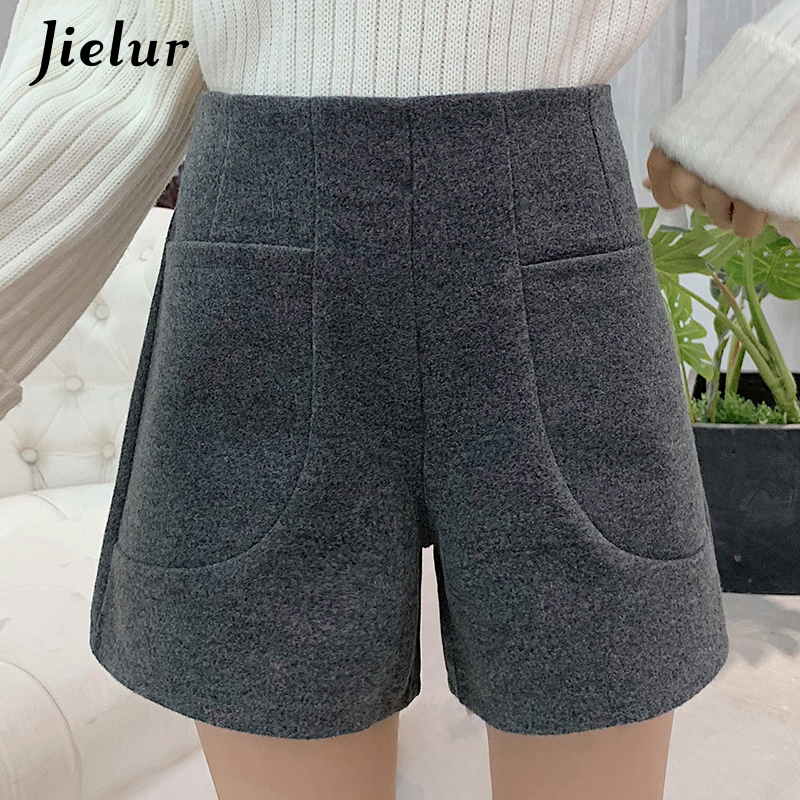 Jielur Short Pantalones Work-Wear Wide-Leg High-Waist Femme Plus-Size Fashion Women Lady
