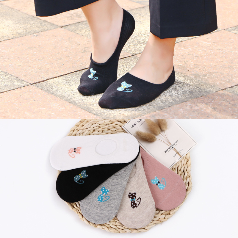 Cotton women low ankle boat   socks   invisible silicon gel slipper girl boy hosiery 1pair=2pcs ws162