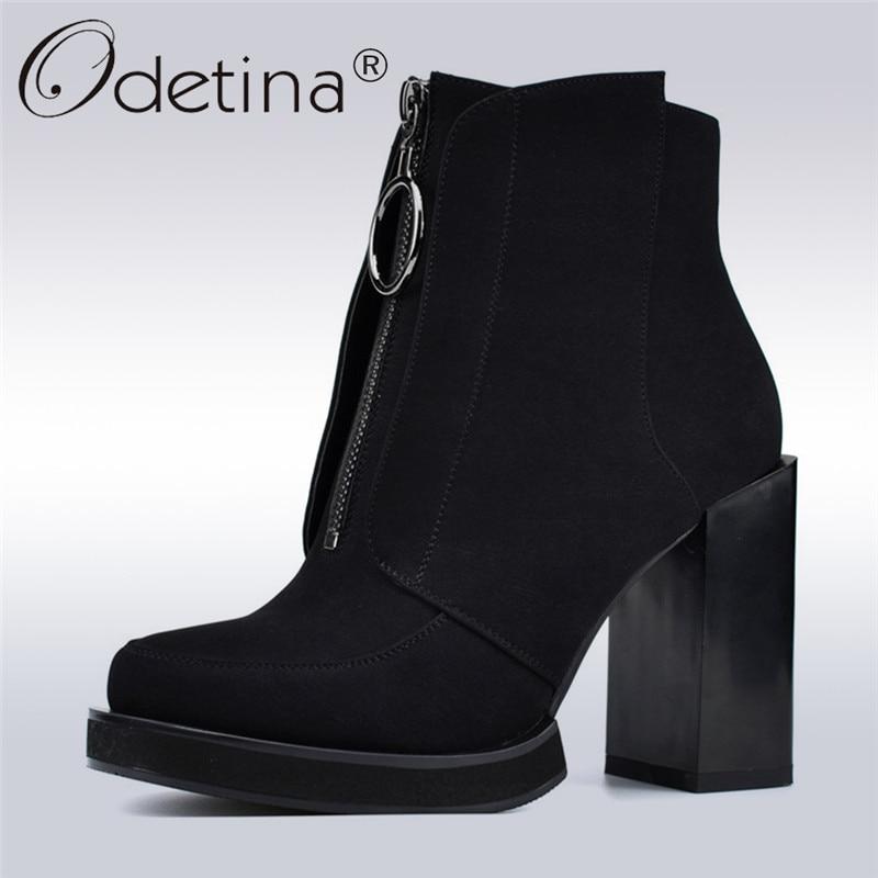 9f2f9a1e050 Comprar Odetina moda nueva moda delante cremallera tobillo botas para las  mujeres plataforma 10 cm cuadrados zapatos de tacón alto de las mujeres botas  de ...