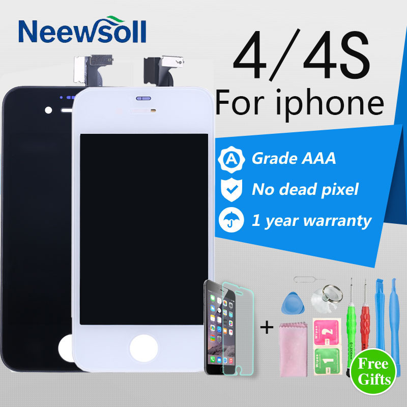 Neewsoll LCD Display Touch Screen Digitizer Assembly For Phone 4 4S Replacement Parts Black White LCD For iPhone 4S LCD Screen