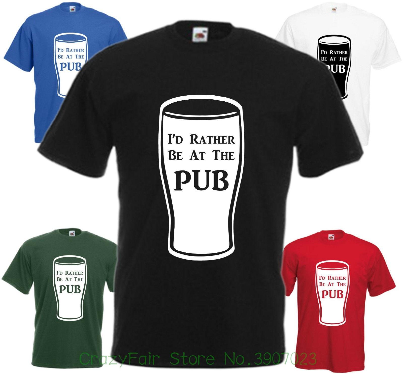 Je Le Ferais Rather Be Au Pub T-shirt No ? L Haut Comedie Fete Des Peres Print T-shirt Men Summer