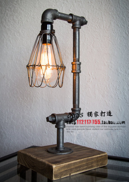 Nordic Loft Vintage Industrial Water Pipe Table Light Edison Desk Light  Accent Wood Lamp Bar Coffee