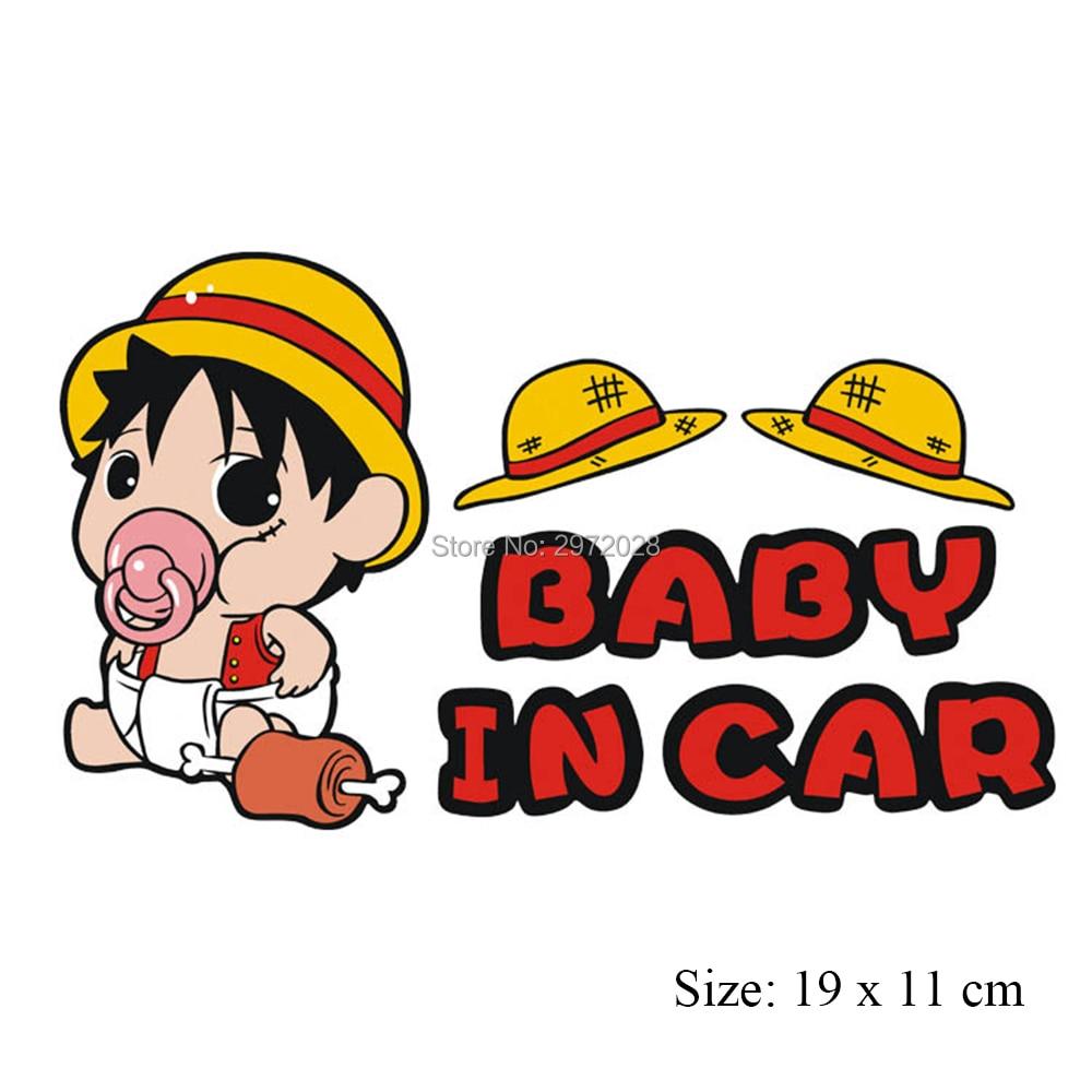 10 x mobil meliputi mobil styling kartun one piece luffy bayi dalam mobil stiker mobil decal untuk toyota ford chevrolet vw honda mazda opel di mobil stiker