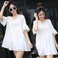 4xl más el tamaño mujeres ropa vestido de 2016 del verano del estilo coreano vestidos delgado puro nuevo blanco vestido lindo dulce alumnas A1523