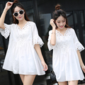 4xl plus size women clothing dress 2016 summer style korean vestidos thin pure new white cute sweet dress female students A1523
