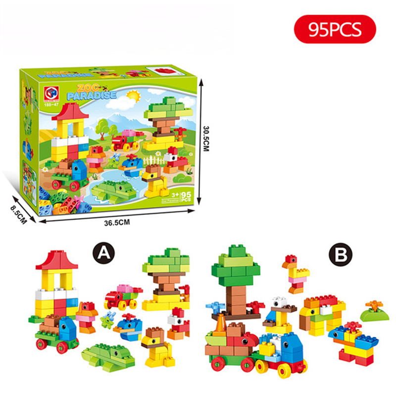 95Pcs Large Particles Zoo Paradise Building Blocks Sets Animal Model Bricks Kids DIY Toys Compatible with legoeINGlys Duplo qwz 39 65pcs farm animals paradise model car large particles building blocks large size diy bricks toys compatible with duplo