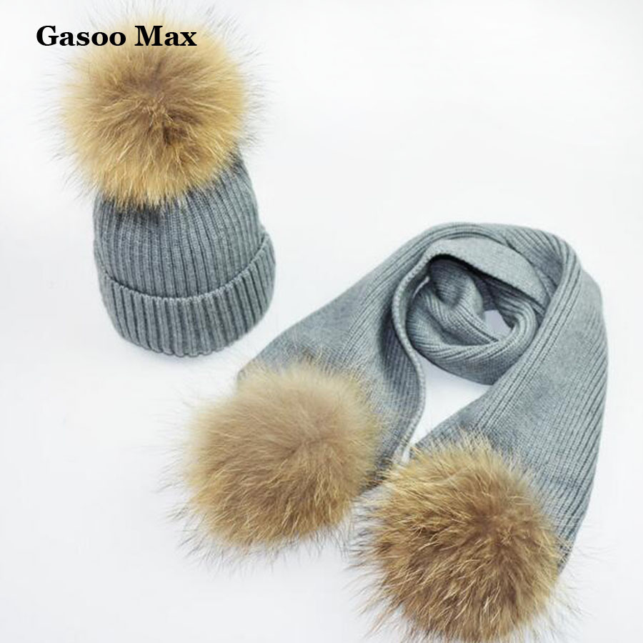 2018 1-3Y Youngsters' Knitted Scarf And Hat Set Luxurious Kids Winter Heat Crochet Hats And Scarves With Actual Fur Pom Beanie Hat