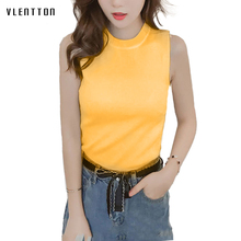 2019 New Sexy Female T-shirt Sleeveless 7 colors Plus Size tshirt women Spring summer Slim Knitted Vest Tops High Quality