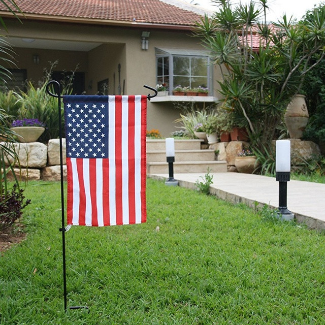 New Garden Flag Stand Powder Coated Black Wrought Iron Hanger Lawn ...