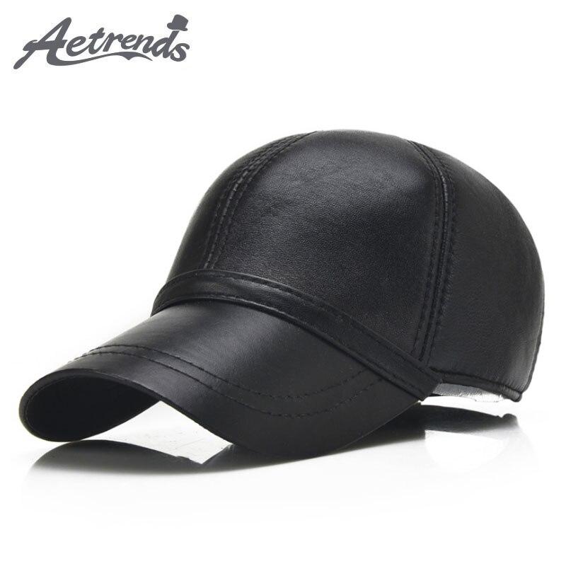 AETRENDS  100% Leather Cap Men Hat Baseball Cap Man Sheepskin Leather Dad  Hat Bone Trucker Hats Winter Black Full Gorras Z-5292 62c8683e7d4