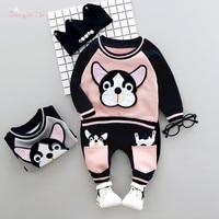 Autumn Winter Baby Girls Boys Kids Cute Dog Sweatshirt Outwear Tops Long Pants 2pcs Infants Casual