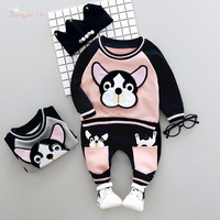 Autumn Winter Baby Girls Boys Kids Cute Dog Sweatshirt Outwear Tops Long Pants 2pcs Infants Casual