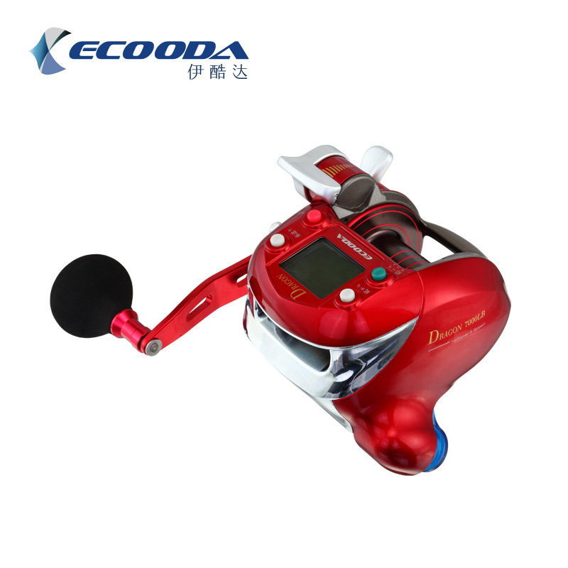 Ecooda 7000lb carrete eléctrico pesca barco pesca carrete agua salada océano pesca carrete rojo