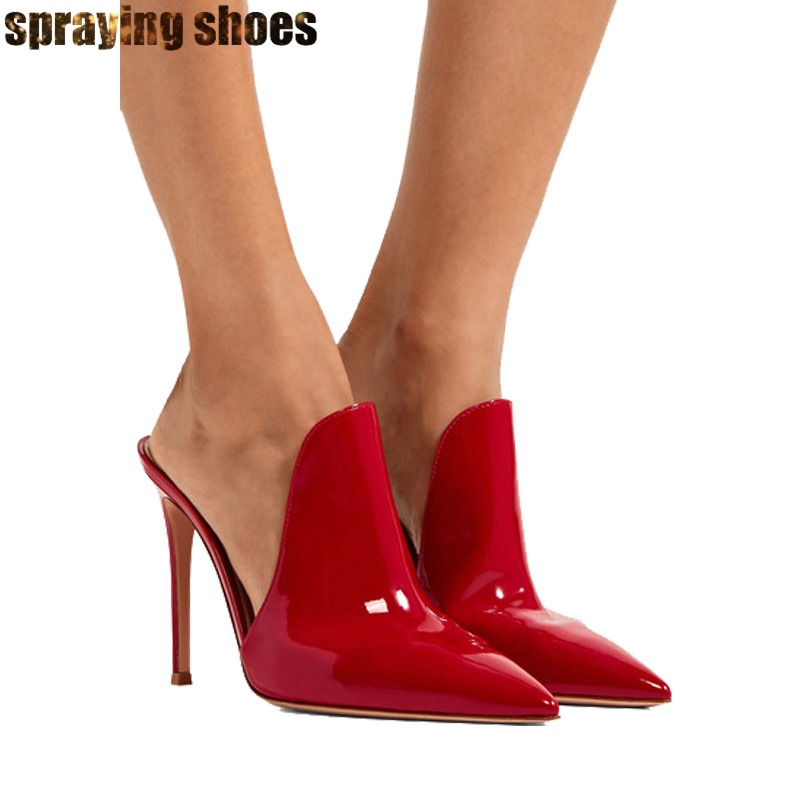 Red/Black Patent Leather Stiletto Women Slingback Pumps Summer Sexy Ladies Pointed Toe High Heels Fashion Shoes Women Big SizeRed/Black Patent Leather Stiletto Women Slingback Pumps Summer Sexy Ladies Pointed Toe High Heels Fashion Shoes Women Big Size
