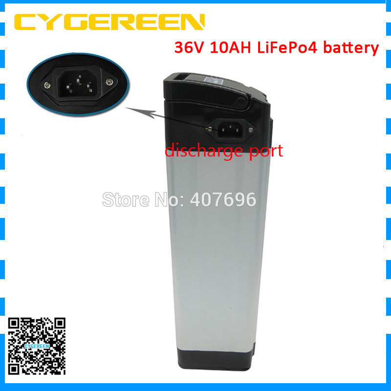 11S 36v 10ah lifepo4 battery 36 v 11ah silver fish electric bike bateria with BMS ebike motor scooter bicycle 2A charger image