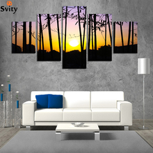 NEW!  Silhouette canvas painting rectangle HD large image artwork wall picture home decoration for living room NO FRAME