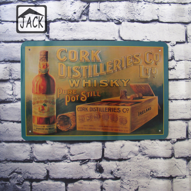 cork wine whiskey advertising poster vintage plaques gallery plate cafe pub club bar decor metal tin - Cork Cafe Decor