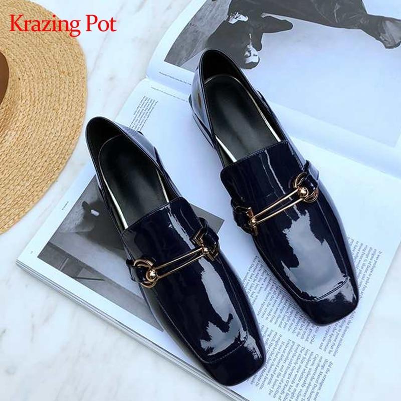 KRAZING POT classics design genuine leather brand shoes thick med heels women pumps square toe metal