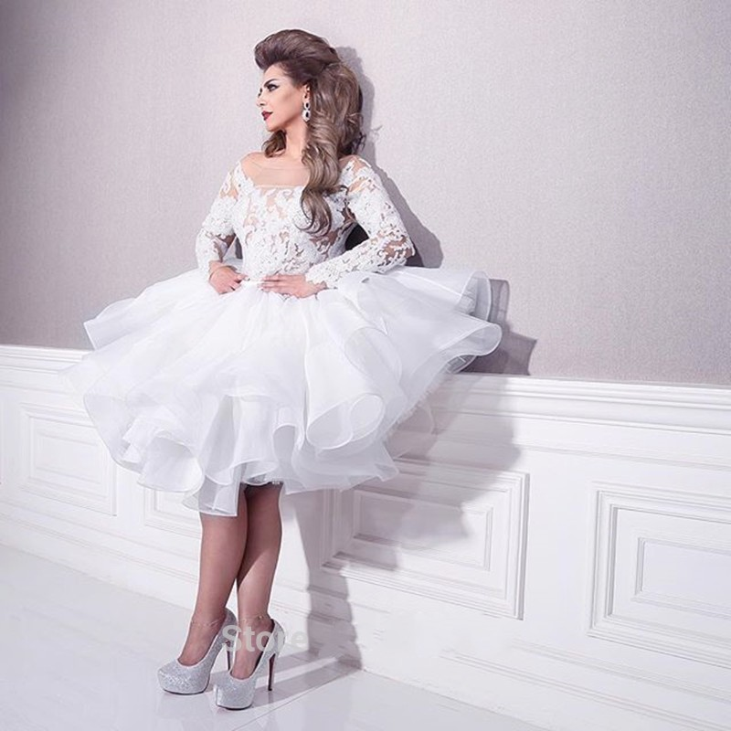 Blanc Dentelle Manches Longues Organza Ruffles Court Top En Dentelle Robe De Bal Robes De Bal Musulman Arabe Robes De Mariée