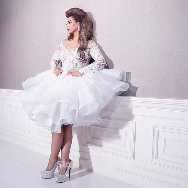 c006f2c0408 White Lace Long Sleeves Organza Ruffles Short Lace Top Prom Dress Ball Gowns  Muslim Arabic Bridal Gowns