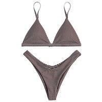 6a5bdce82c240 ZAFUL Women Swimwear Striped High Leg Bikini Set Spaghetti Straps Natural  Waist Lady Sexy Beach Bikini
