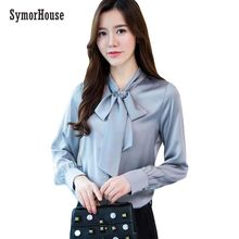 d630d3349b7935 2019 NEW Spring long sleeve bow tie satin shirts women work wear office  blouses lady casual