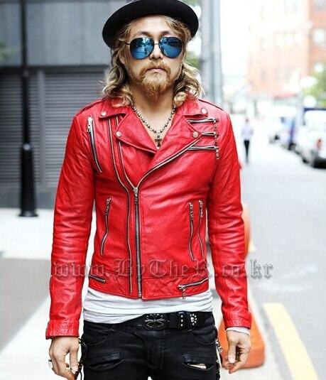 Chaqueta biker piel roja