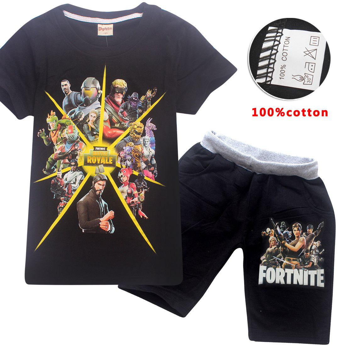 Cartoon Game Fortnite Children Clothing Set Summer 3D Printed T Shirt Tops+ Shorts 2pcs Casual Kids Boys Girls Clothes Tops