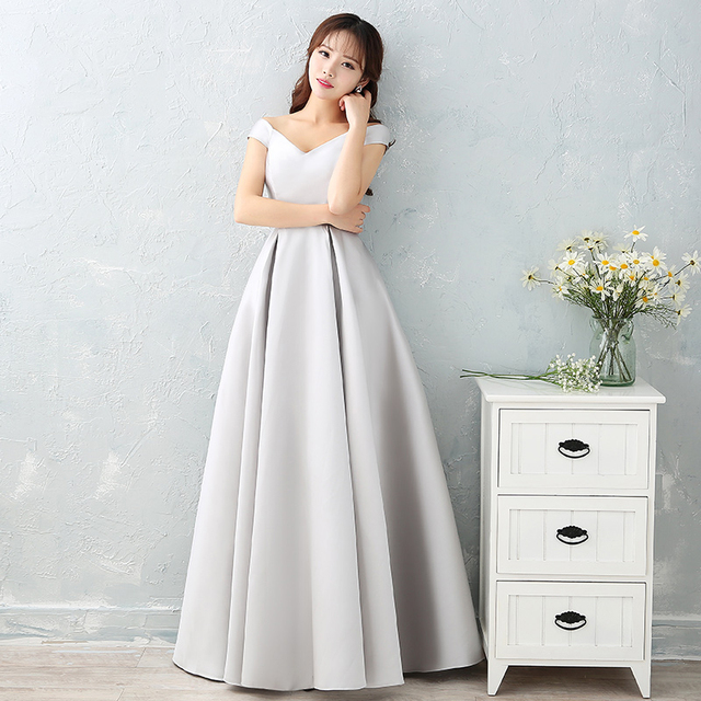 #Luxury Sliver Satin Long #Evening #Dresses #Prom Robe #Party #Gown #girl #grl #boygrl #fashion 5