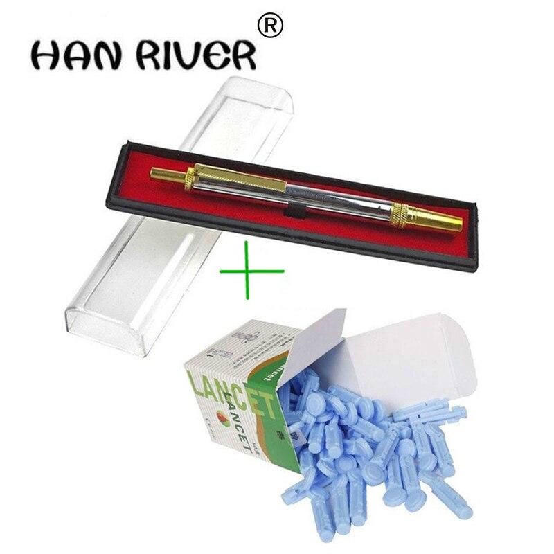 Stylo 1 pièces + 200 pièces (4 boîtes) aiguilles en acier inoxydable pour lancette de sang torsadée, thérapie par ventouses et test sanguin livraison gratuite