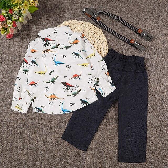 2019 baby boy clothing sets Dinosaur children suit set fashion spring autumn male Dino 2pcs sets print shirts+bib pants 16420