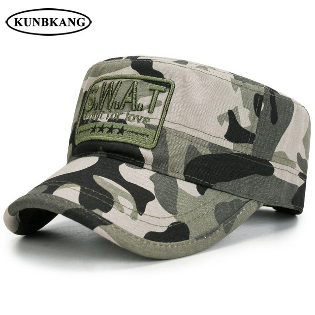 52fef3b5dfb 2018 New Army Camouflage Flat Top Cap Men SWAT Tactical Sun Dad Hat Bone  Adjustable Male Outdoor Casual US Camo Baseball Cap Hat