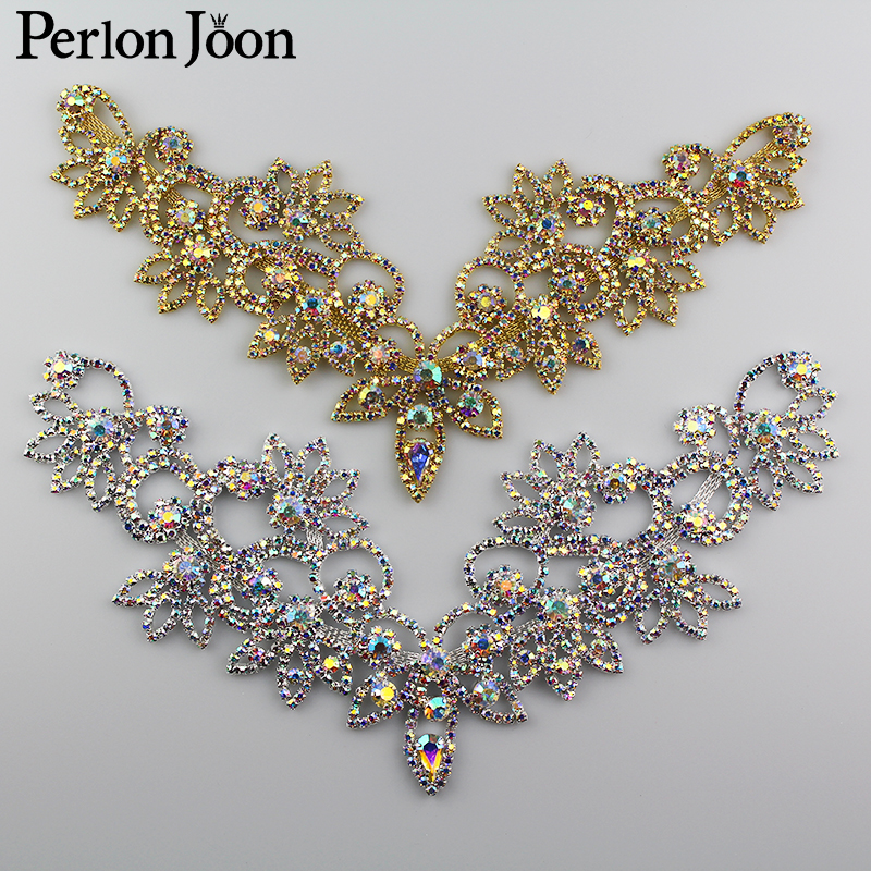 6*4.2in  Ab Crystal Collar Rhinestone Sew-on Necklace Adornment For Wedding Dress Skirt Flashing  Clothing Accessories YL012