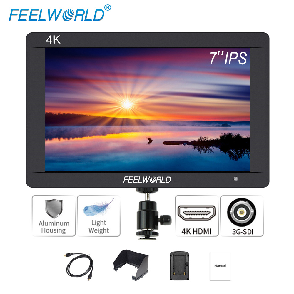 Feelworld F7S 7 inch SDI 4K HDMI On Camera DSLR Field Monitor Full HD 1920x1200 Aluminum Housing Small LCD IPS External Display feelworld f7s 7 inch sdi 4k hdmi on camera dslr field monitor full hd 1920x1200 aluminum housing small lcd ips external display