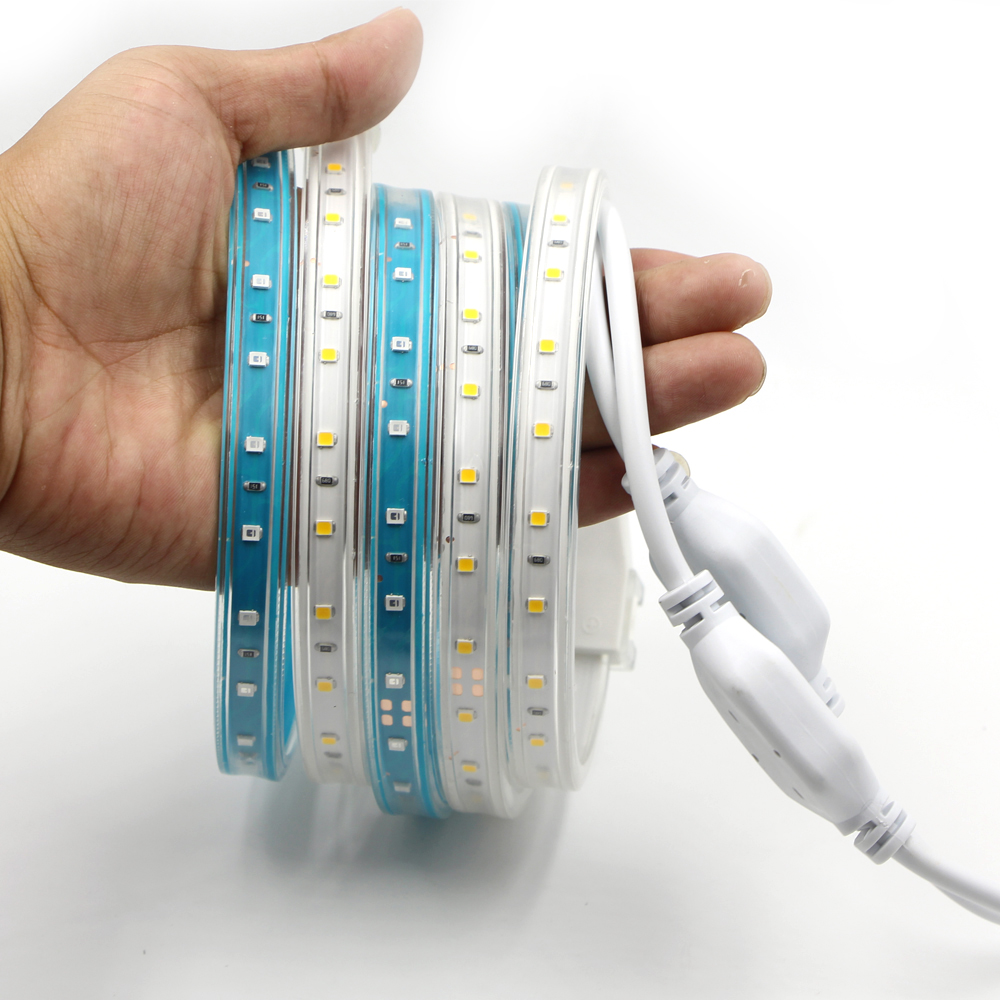 AC 220V Led Strip SMD 2835 Waterproof IP68 Led Tape Light + EU Power Plug High brightness warm White flexible rope string lamp usb high brightness flexible white light led clip lamp silver white