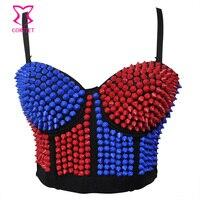 Blue/Red Resin Beading Sujetador Push Up Bra Bustier Bralette Crop Top Sexy Đồ Lót Nữ Bras Câu Lạc Bộ Dancewear soutient hẻm núi