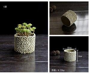 Image 4 - Moules de ciment en Silicone, pot de fleurs en Silicone, multi viande, Vase 3D pour bureau, plantation de ciment, artisanat décoratif à domicile