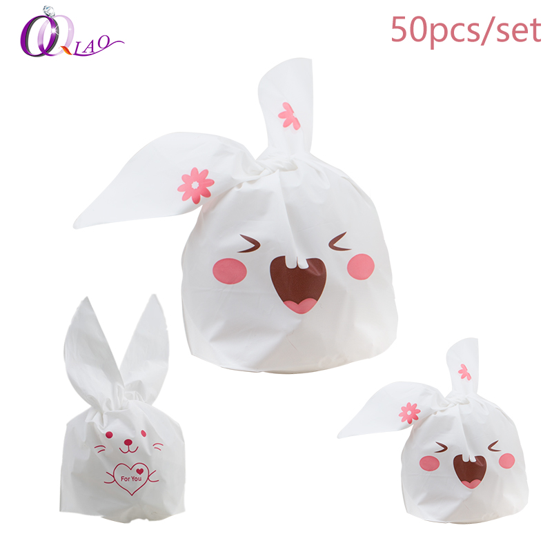 50pcs/lot Cute Rabbit Ear Cookie Packing Bags Plastic Gift Bag For Candy Biscuits Package Wedding Decoration Bag For Jewelry