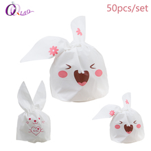 50pcs/set Plastic Cute Cartoon gift bags Kawaii Rabbit Ear Candy Cookie Bags For wedding decoration, Event & Party Supplies