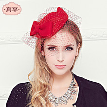 Fashion small fedora hat autumn and winter bow woolen hat women lace gauze beret high quality vintage wool high-end hat 2016