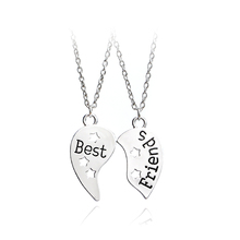 2pcs/set Best Friend Necklace For 2 Handstamped BFF Couple Chains Pendant Family Star Hollow Set Engraved Boy Girl