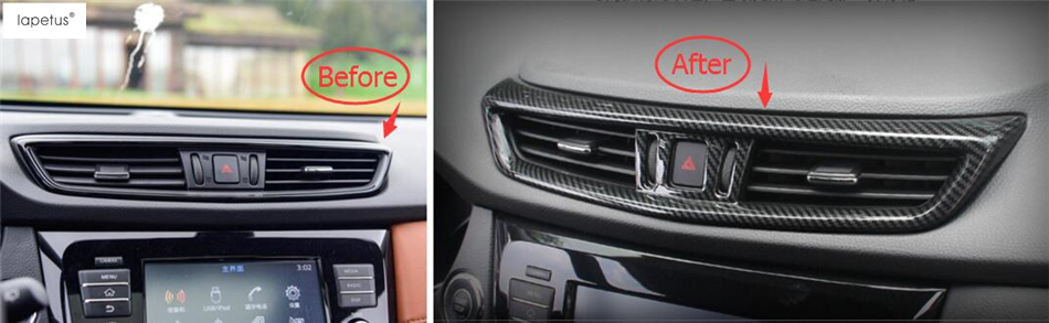 Accessories For Nissan X-Trail X Trail T32 Rogue 2014 - 2018 Central Air Conditioning AC Outlet Vent Molding Cover Kit Trim abs chrome door body side molding trim cover for nissan x trail x trial xtrail t32 2014 2015 2016 2017 car styling accessories