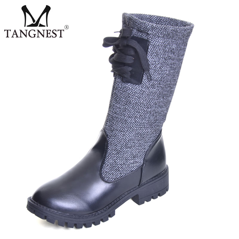 Tangnest NEW Women Knitting Mid-calf Boots Fashion PU Leather Patchwork Boots Warm Plush High Top Shoes Woman Wedge Boot XWX6464 double buckle cross straps mid calf boots