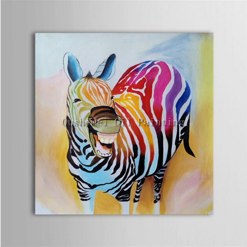 Oil Paintings For Living Room Aliexpresscom Buy Hand Painted Zebra Animals Oil Painting For