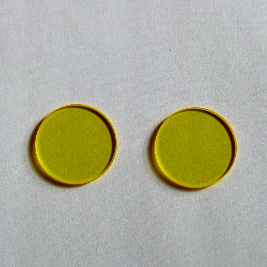 JB490 Gold Wave Filter Passes through Front Cut-off Gold Yellow Filter Transparent Glass Optics 25*2mm after <font><b>490nm</b></font> image