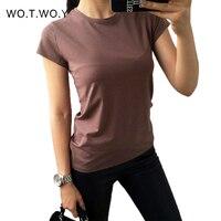 Высокое качество, 18 цветов, простая футболка, женские хлопковые эластичные Базовые Футболки женские повседневные топы, футболка с коротким ...