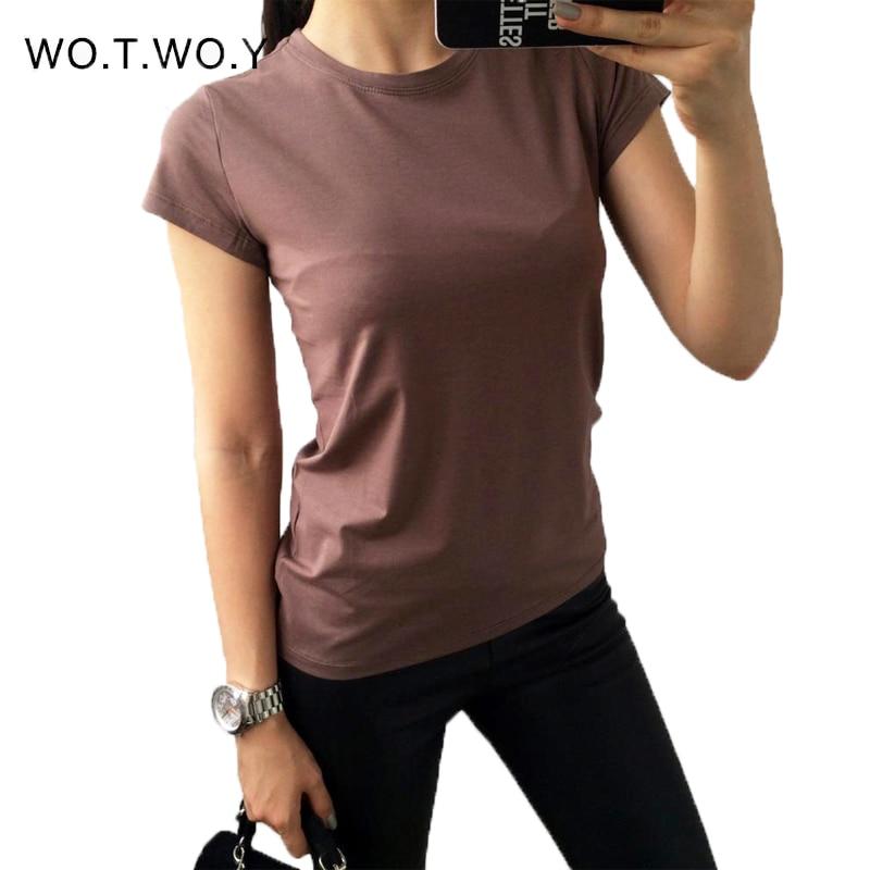 Camiseta lisa de S-3XL de 18 colores para mujer, camisetas de base elástica de algodón, Tops informales para mujer, camiseta de manga corta para mujer 002