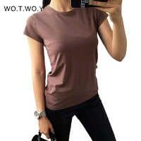 Haute qualité 18 couleur S-3XL plaine T-shirt femmes coton élastique basique T-shirts femme décontracté hauts à manches courtes T-shirt femmes 002