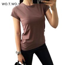 Wysokiej jakości 18 kolorów S-3XL zwykły T Shirt kobiety bawełna elastyczny prosty T-shirt kobiet dorywczo topy z krótkim rękawem T-shirt kobiet 002 tanie tanio WO T WO Y Elastan NONE Tees Stałe REGULAR Suknem O-neck Na co dzień Black White Blue Yellow 95 Cotton 5 Spandex Casual Basic